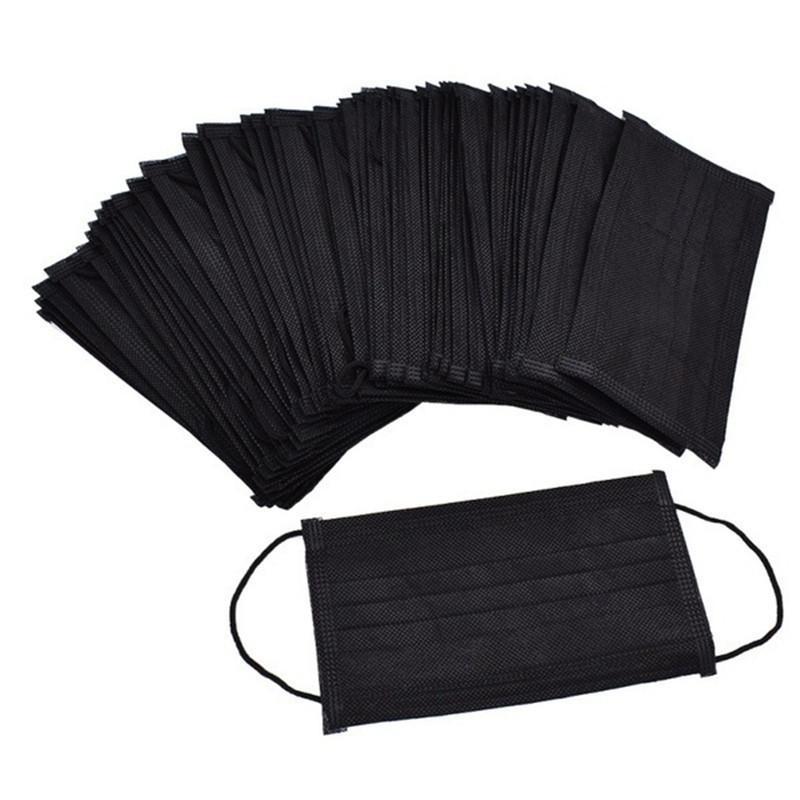 Máscara facial desechable negro Hombres Mujeres Anti Seguridad protección contra el polvo de algodón de 3 capas de recubrimiento elástico para la máscara Home Use mascarillas desechables
