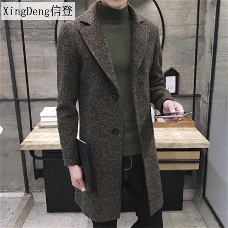 XingDeng Erkekler İlkbahar Sonbahar Kalın Yün Hendek moda sıcak Coat Erkekler Uzun Casual Coats Yaka Yaka Palto Artı boyutu 5XL 003P #