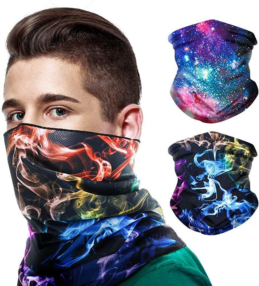 Маска 2pack Бандан лица для мужчин женщин, мягкого дышащего шарф шеи Gaiter рот Покрытия на щит UV Sun Dust для лыжного рыболовного вестерна