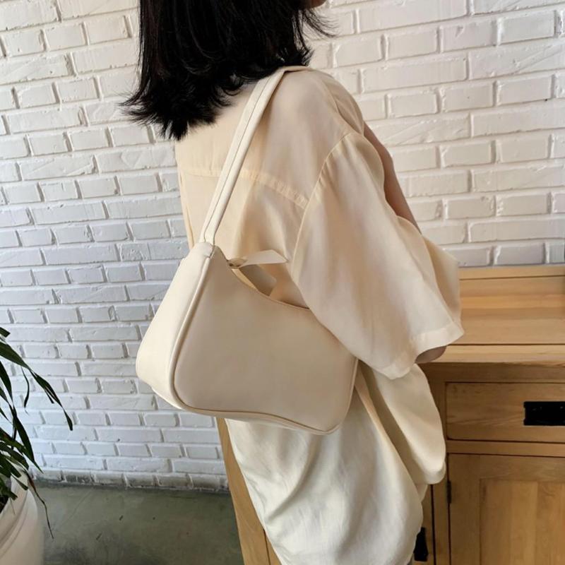 Bolsos de hombro de cuero de la manera patrón sólido Baguette Bolsas Mini PU para el bolso de mano de las mujeres 2020 Breve viajes de lujo Mujer