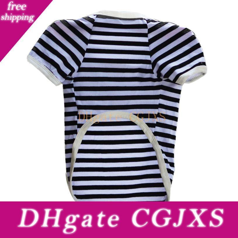 Brand New 2015 Hunde Shirts Welpen-Hundekatze Westen Hemd Kleid-Kostüm-Streifen-T-Shirt Freies Verschiffen L015