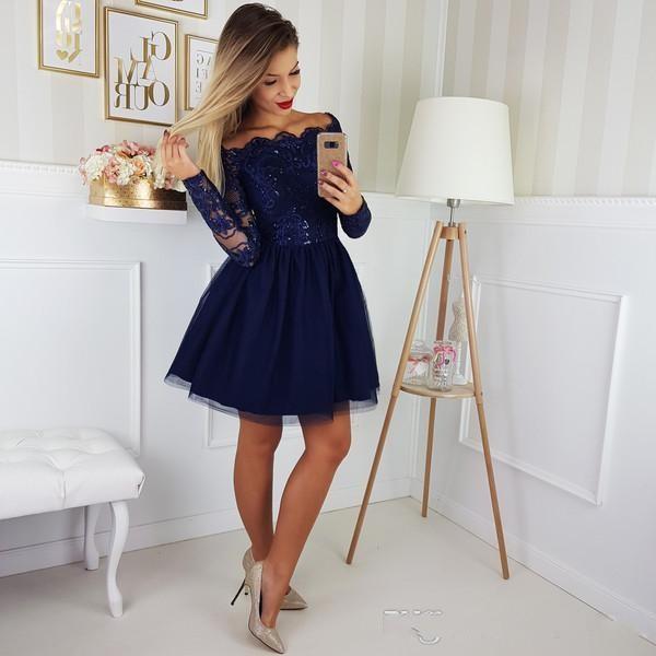 Vestido de fiesta 2020 Azul marino corta con estilo mini vestidos de regreso a casa una línea del hombro Appliques el cordón largo de las mangas de tul más el tamaño