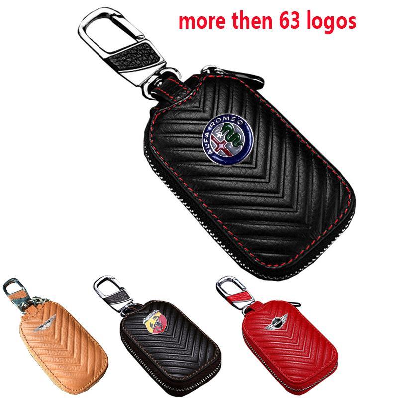 Leather Car Key Cover Men Women Keychain Fashion Key Case for Alfa Romeo Hyundai Ford Lexus Nissan Kia Honda Mini