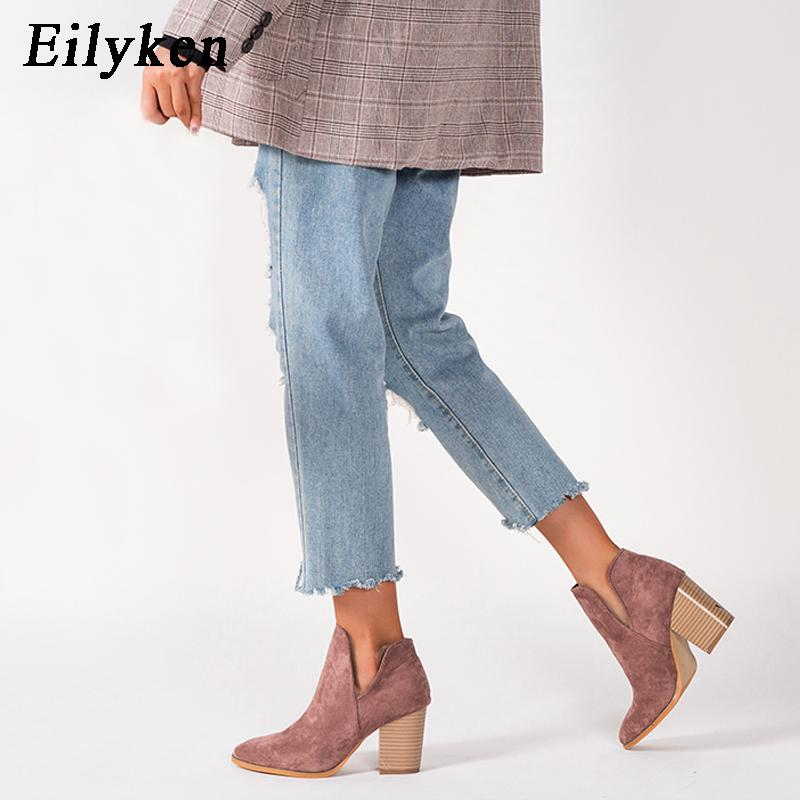 Eilyken Women Designer Ankle Elegant Boots Low High Heels 8cm Zipper Short Quality Boots Shoes SIZE 36-43 CX200819
