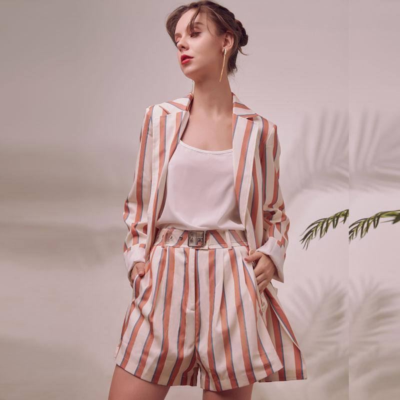 Luck femmes 2020 piste bureau blazer simple bouton automne dame haut short costume deux pièces ensemble