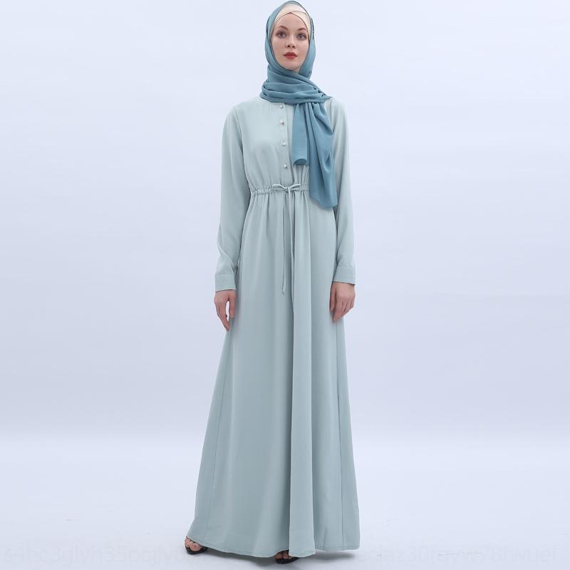 Pezwd UE2nW frais robe longue grande manche de menthe simple, taille Turquie robe arabe vert musulman