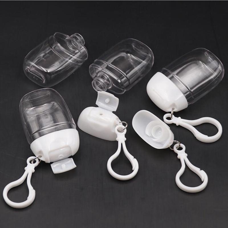 30мл дезинфицирующее средство для рук бутылки с Key Ring Крючок прозрачный пластик многоразовые контейнеры путешествия бутылки Патру Фавор YYA420