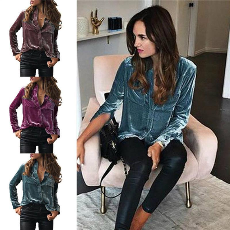 Women Plus Size Spring Autumn Shirt Fashion Turn Dowm Collar Long Sleeve Velvet Tops Blouse Office Lady Solid Casual Shirts