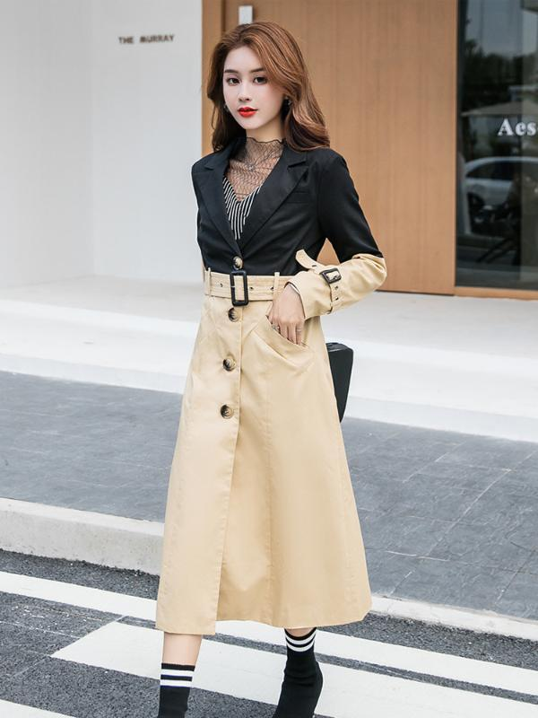 gabardina ropa de las mujeres de lujo gabardina otoño del resorte femenino de retazos de color caqui negro señora larga Inglaterra abrigos elegantes