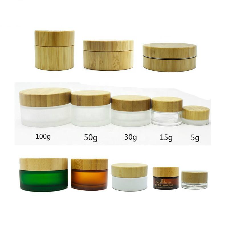 Бамбуковые косметические банки 5g 15g 30g 50g 100г сливка косметической банка с гравюрой бамбука / деревянной крышкой, 30мл 50ml100ml матового стекла бутылки