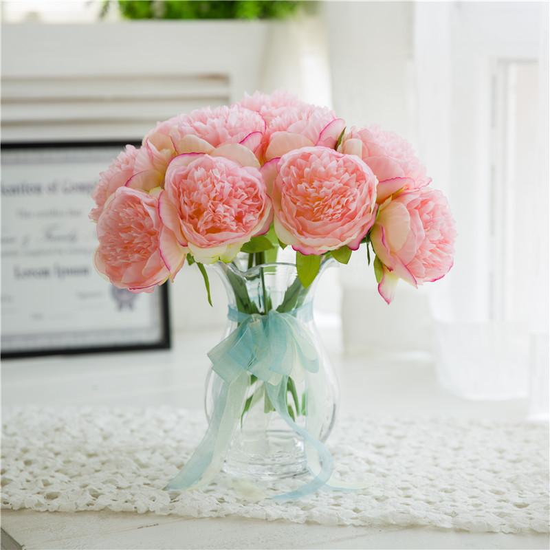 Fünf Köpfe der Königspfingstrose Europäische Hochzeit dekorative künstliche Blumen Hauptdekoration Pfingstrose bouqut Braut mit künstlichen Blumen Großhandel
