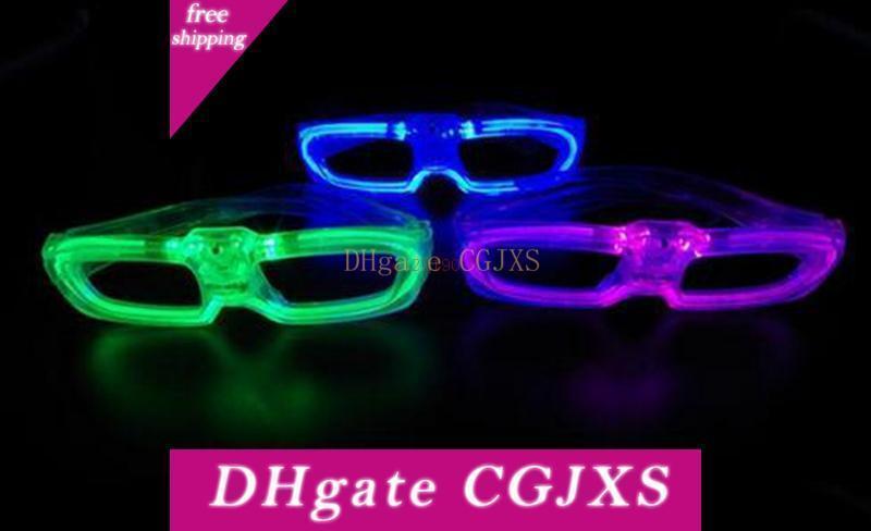 120pcs / Lot Leuchtende Gläser Mode Cold Light Glitzern Kunststoff Brille Led Light Up Blitz-Partei-Brille Fabrik-Großverkauf