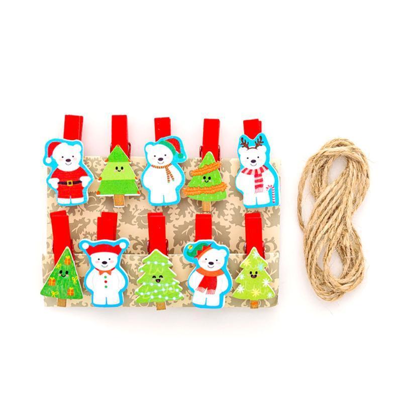 10шт Рождество мультфильм дизайн мини Весна Деревянных Клипы Одежда Фотобумага Peg Pin прищепка Craft Клип партия украшение дома