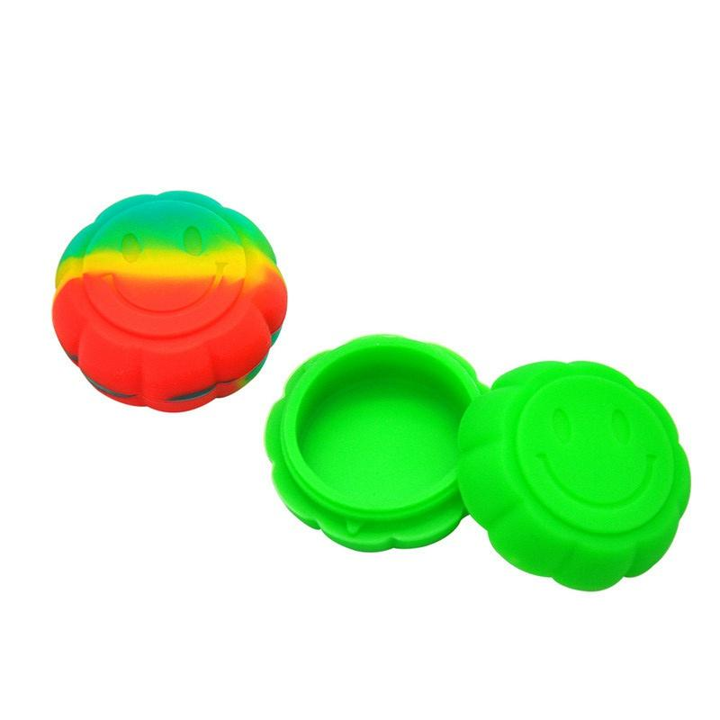 Nonstick wax containers pumpkin shape silicone box 6ml silicon container smiley face food grade jars dab tool storage jar holder