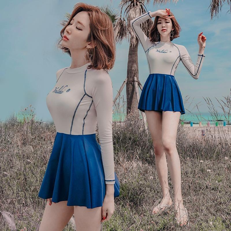 2020 Корейский стиль сбора консервативное платье платье купальник комбинезон юбка с длинными рукавами соответствия цветов один цельный тип юбка боксер купальник