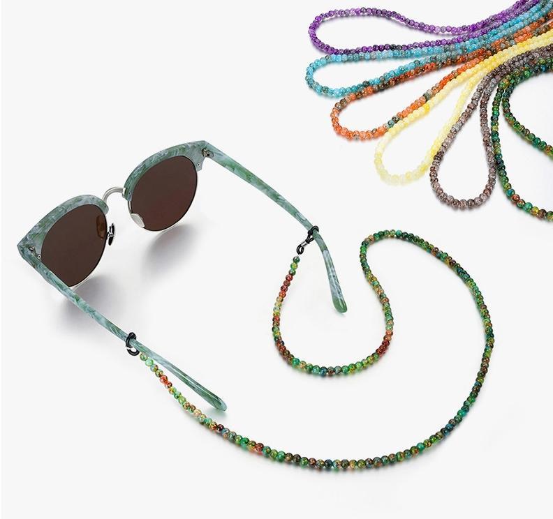 Bohemia Cuentas de piedra natural de los vidrios cadena de moda cuerda de seguridad Gafas de la correa de las gafas de sol Accesorios Cordones Casual