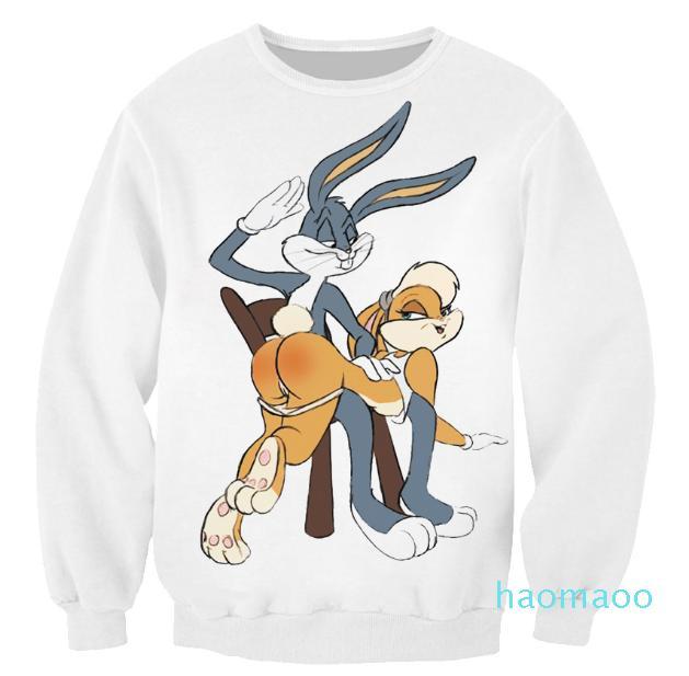 vente-Nouveaux Hot Mode Femmes / Hommes Bugs Bunny Looney Tunes drôle 3D imprimés Sweat à capuche Casual Tops S --- 5XL B4