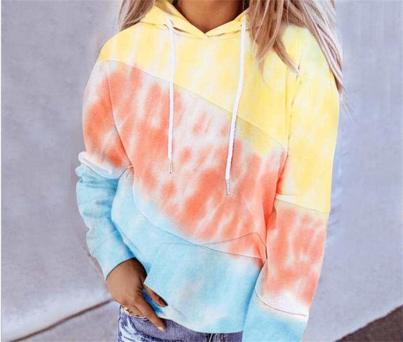 Dropshipping Autumn Ladies Designer Streetwear Hoodie Fashion Contrast Color Hooded Long Sleeve Sweatshirts Casual Female Clothing
