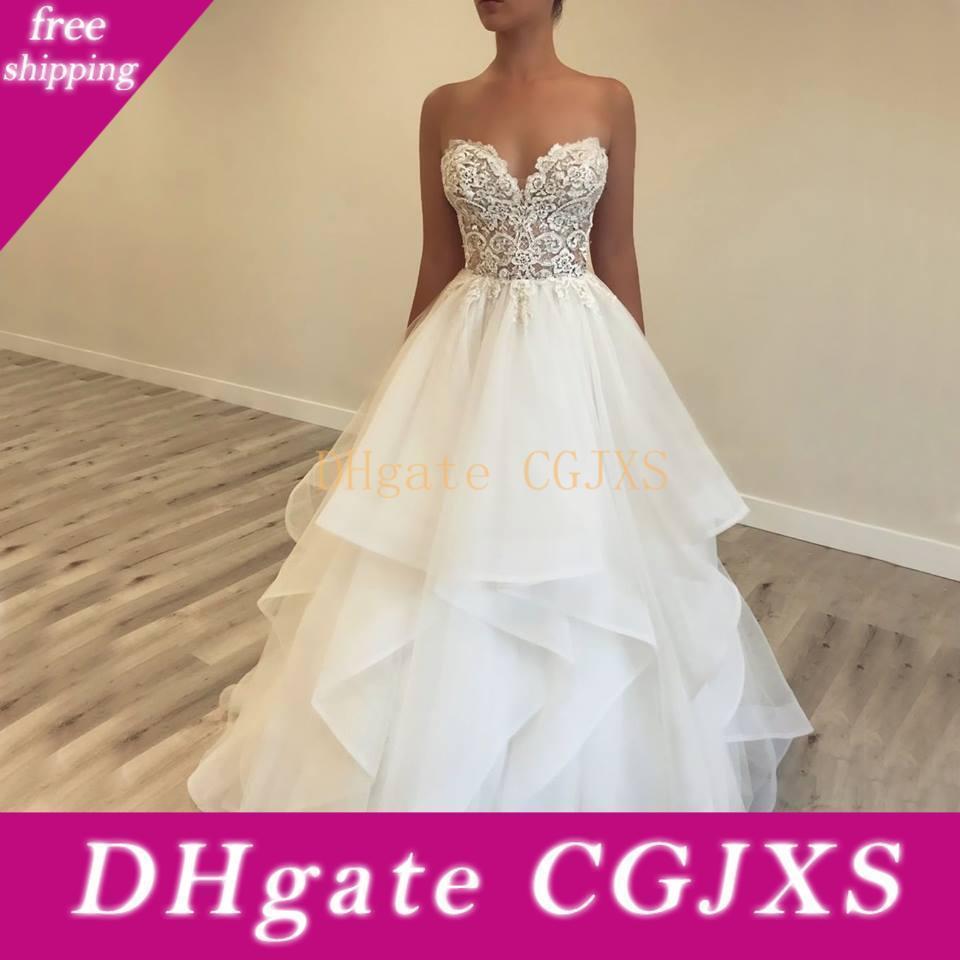 2019 vestidos de novia de encaje Berta Beach Simple White una línea vestido sin espalda Vestidos de novia barato de Boho bodas