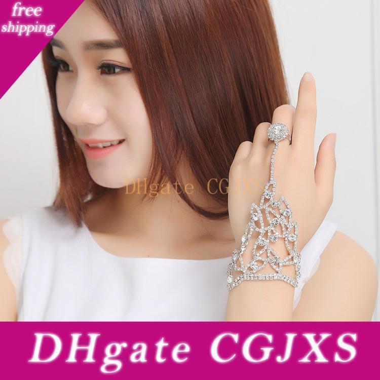 2019 Cheap Elegant Wedding Bridal Party Prom Jewelry Crystal Rhinestones Finger Ring Bracelet Wristband Bracelet Women S Hand Accessories