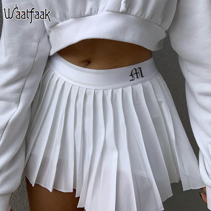 Waatfaak Weiß gefalteter Rock Short Frau elastische Taillen-Minirock Sexy Mircro Sommer Stickerei Mini Tennisrock New Preppy