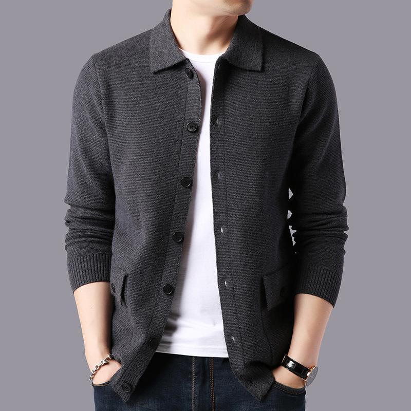 2020 nuevos otoño e invierno capa del suéter de alta calidad chaqueta de punto de los hombres delgados de lana basando la camisa Sólido Collar Casual Turn-down