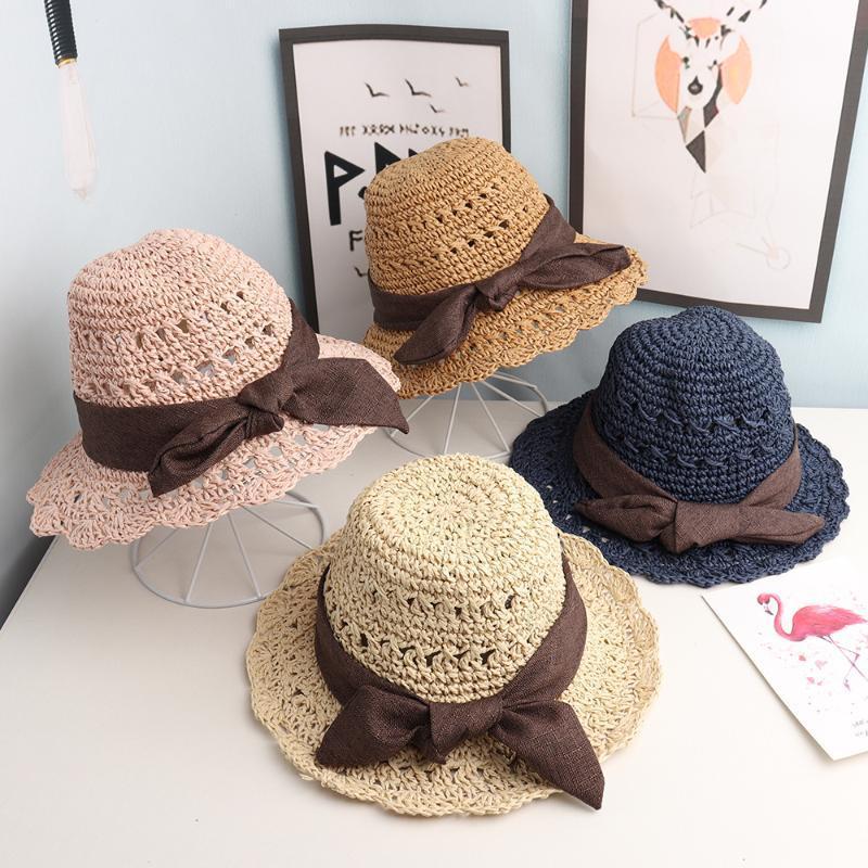 Caps Hats 2021 ребёнок и девочка ручной работы детская соломенная шляпа большая вдоль лука летний рыбак солнцем бассейна