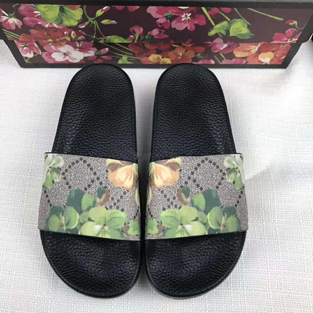 Дизайнерской марка Rubber слайд Сандала Цветочных парчовые мужчин тапочки Gear днищ Шлепанцев женщин полосатых Бич причинной туфель с коробкой US5-12