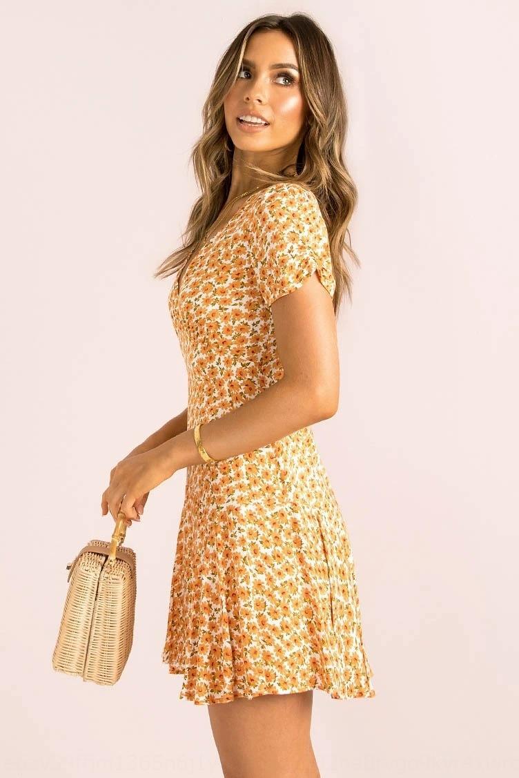 sJ0NT Sommer 2020 V-Ausschnitt Kurzarm-V-Ansatz dünne gedruckten für Frauen kleidet Kleid 2020 neuen kurzärmelige neues gedruckte schlank Sommer für Frauen