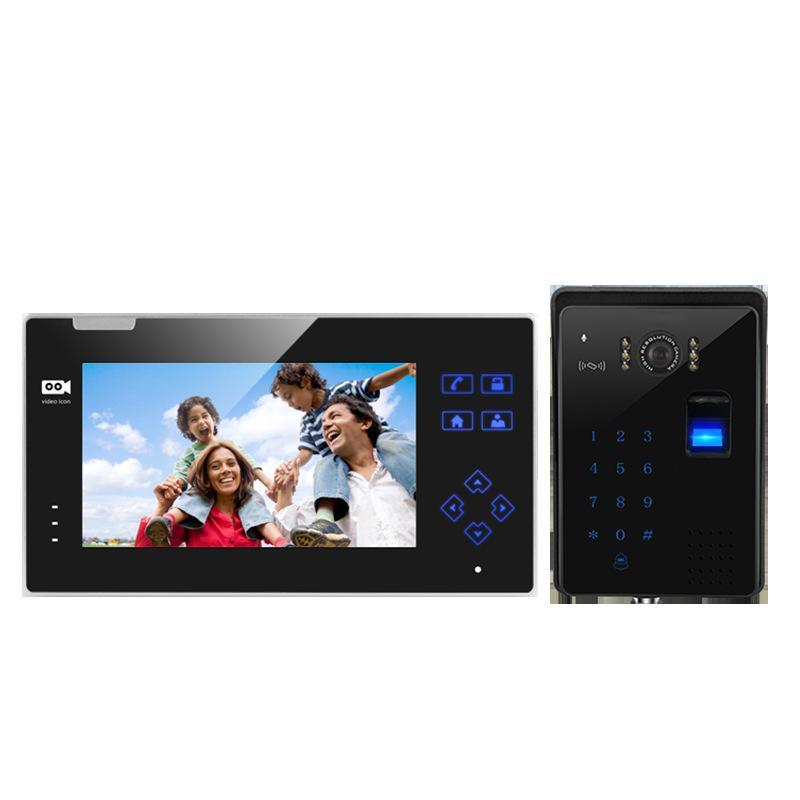 Campainhas de 7 polegadas de video camada de vídeo com fio de vídeo com senha de impressão digital, cartão de swiping, po e controle de acesso eletrônico