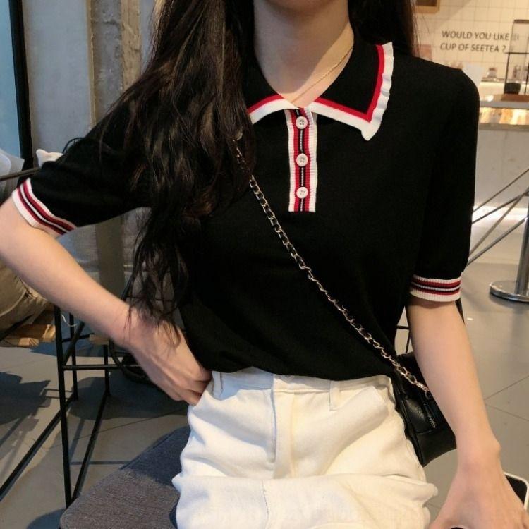 ZQARa İnternet ünlü yaka yaka örme moda üst dişi POLO kız öğrenci tişört tişört kısa kollu çizgili