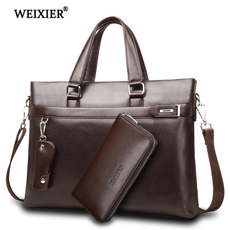 WEIXIER Brand Men Bag High Quality Classic PU Leather Man Briefcase Mens Business Handbag Messenger Bags Computer Laptop Bag