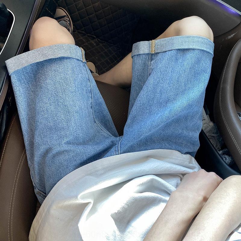 nVwiE Gh1rY sólidas 2020 hombres flojos de nuevos y verano pantalones cortos de mezclilla de los hombres de color los pantalones rectos pantalones cortos casuales del deporte