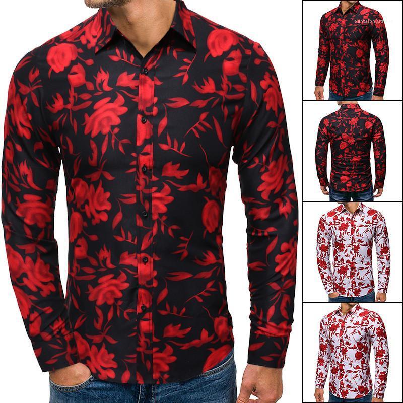 Мужская одежда Осень Мужские дизайнерские футболки Тонкий цветочный Печатается с длинным рукавом однобортный отложным воротником Топы Мода