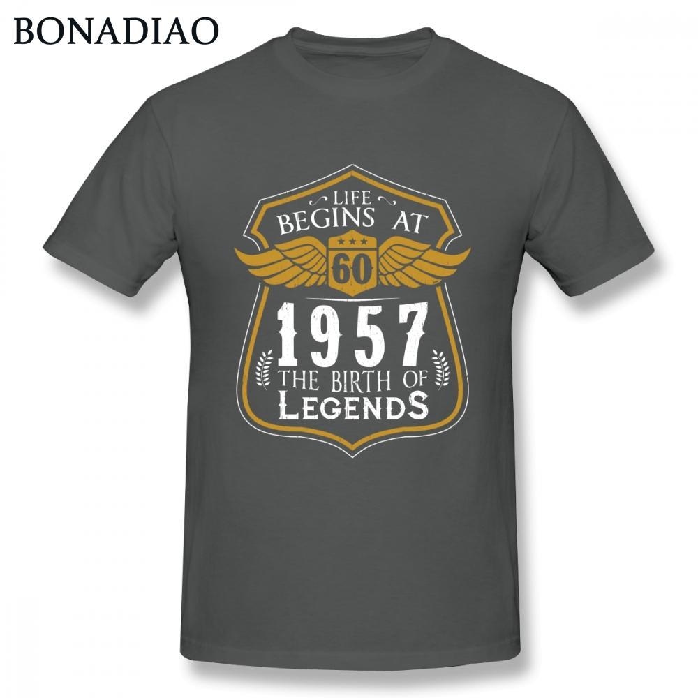 Regalo camiseta del cumpleaños vida comienza en el 60 1957 El nacimiento de Leyendas camiseta para hombres de algodón Camiseta
