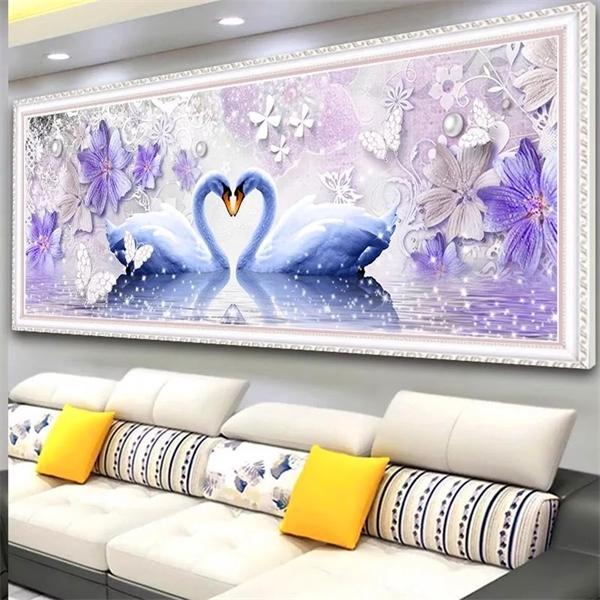 5j diamant Peinture animale pleine ronde Violet Swan Diy diamant broderie amour croix strass point mosaïque cadeau Home Décor 0924