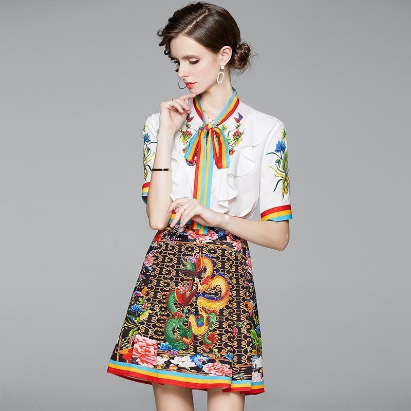 J9YDA eJ4Gv 2020 Летний новый набор элегантный Top плиссированные юбки элегантный плиссированные короткий рукав оборками топ + юбка лента женщин