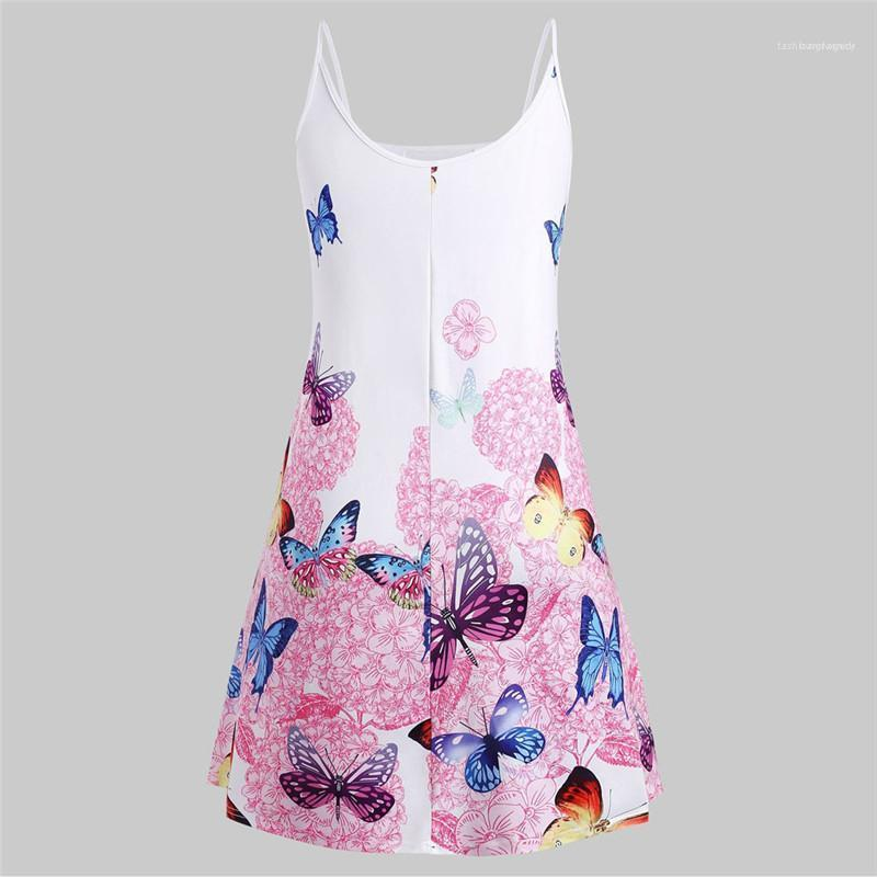 Butterfly Printed Spaghetti Strap A Line Dress Plus Size Womens Clothing Summer Womens Designer Dress Mini Sexy
