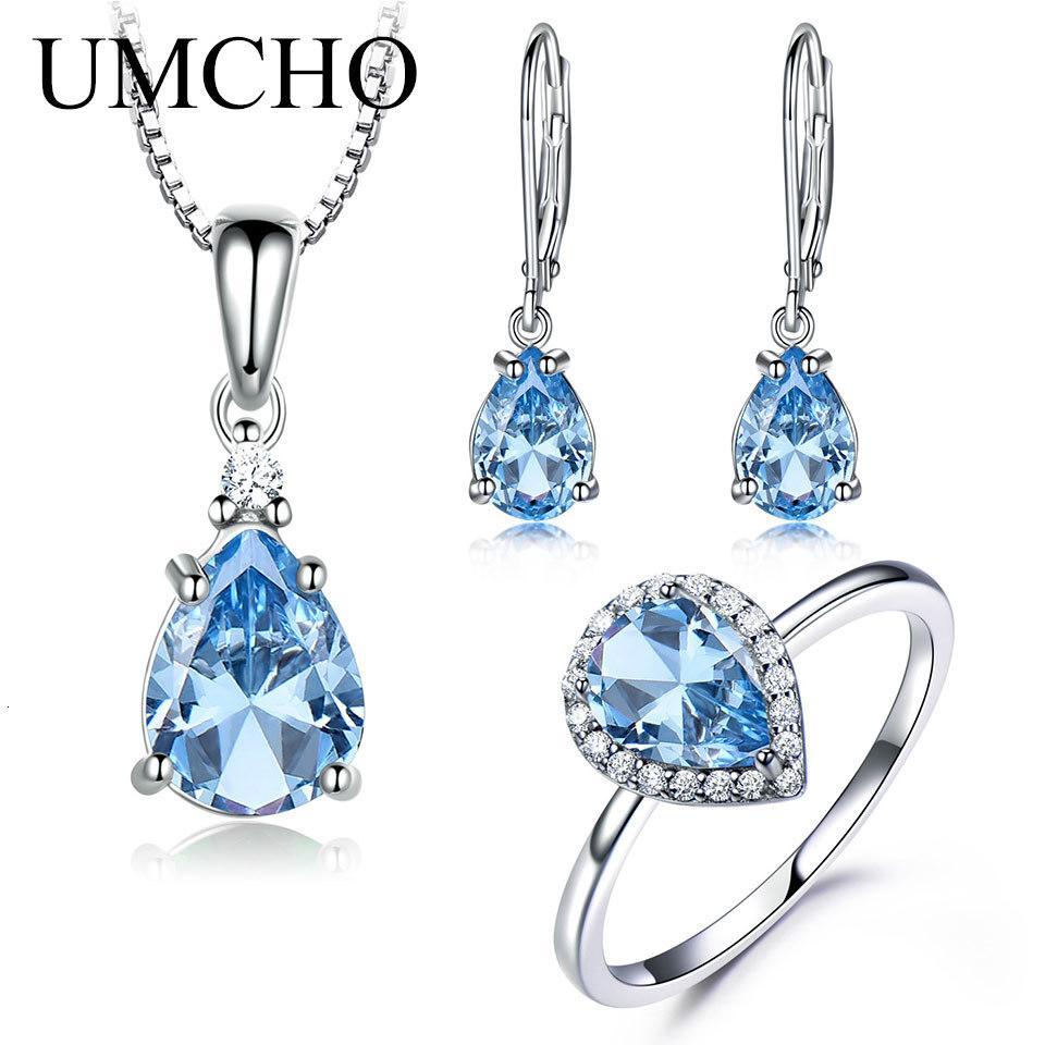 UMCHO Takı Seti mavi topaz Yüzük Küpe kolye 925 Gümüş Bayan Takı Seti El yapımı Emaye
