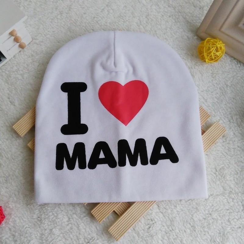 ewye7 Je aime maman et papa Pull en tricot de coton de bébé et de femmes hommes chapeau pull-over imprimé amour enfants lot chapeau tricoté