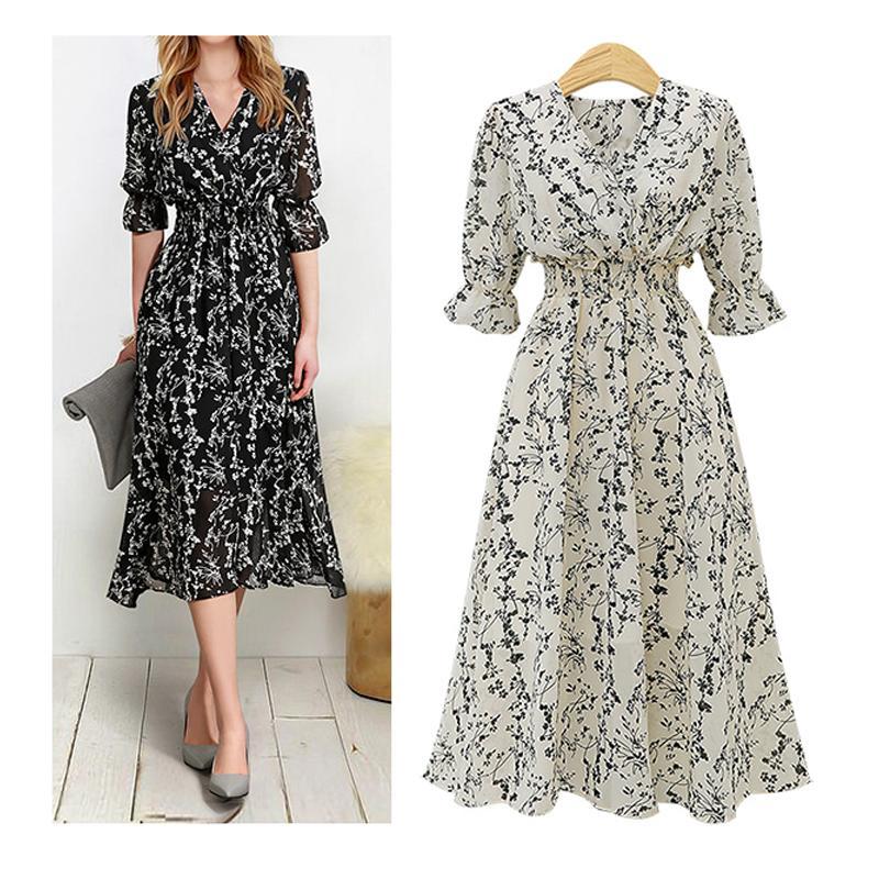 2020 Robe d'été Taille Plus 5XL Imprimer Fleurs Mesdames Robes Femmes en mousseline de soie à taille élastique Femme Robe à encolure en V Marque Vêtements
