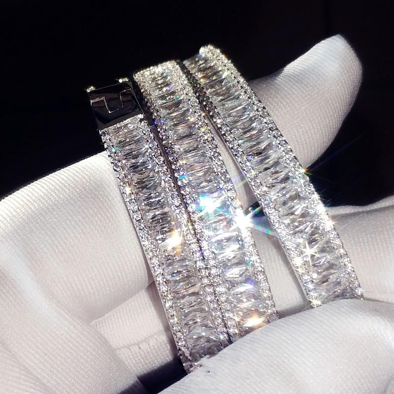 Encanto pulseira Baguette Cut 5A cúbicos zircônia White Gold Filled pulseira acoplamento do casamento para as mulheres accessaries moda