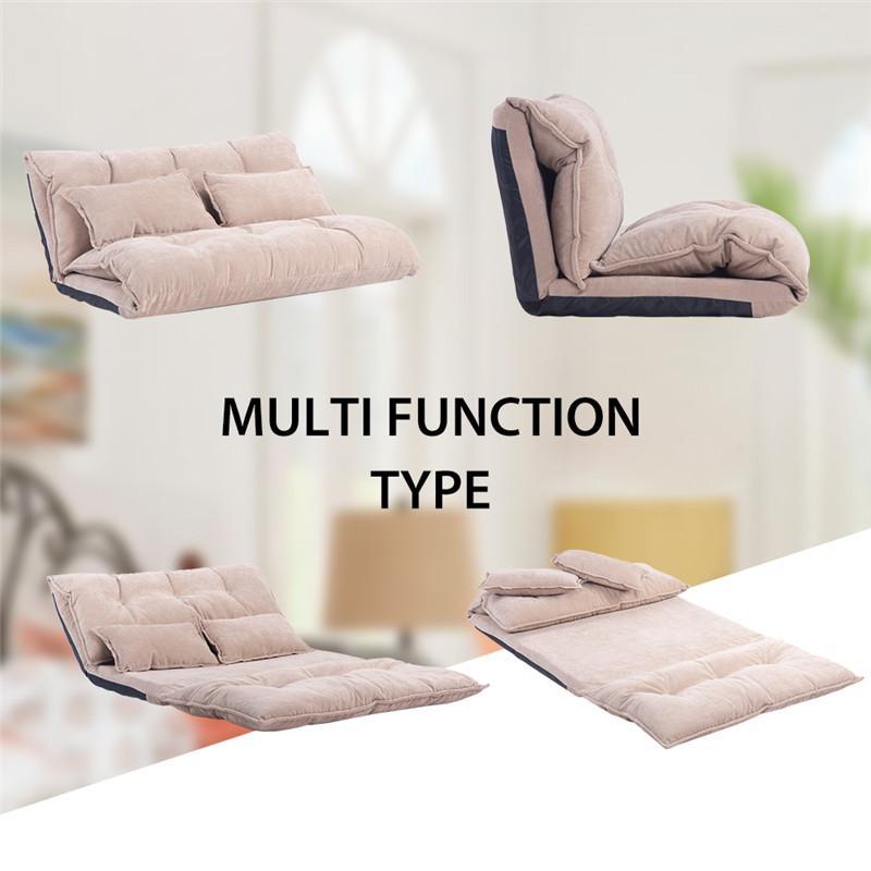 Style multifonction Canapé-lit à plancher de sol réglable Sofa de jeu vidéo avec deux oreillers oris fourrure. Réglable pliable WF008064DAA