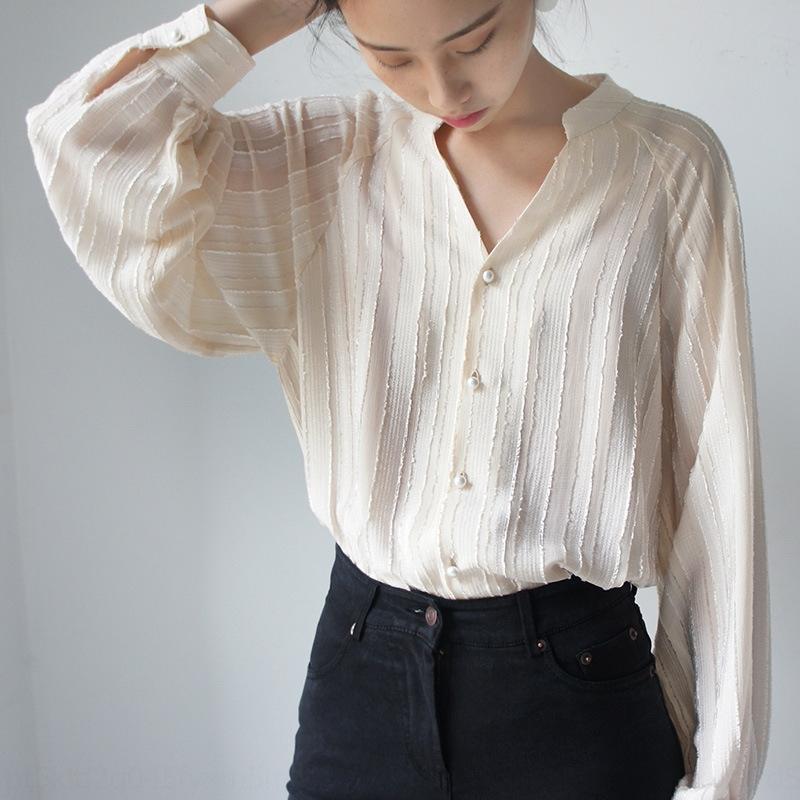 camicia lunga allentata del manicotto U6Kw2 elegante 2020 latte fata albicocca V-collo struttura verticale della camicia lanterna lanterna dolci dtkyS nuovo semitrasparente