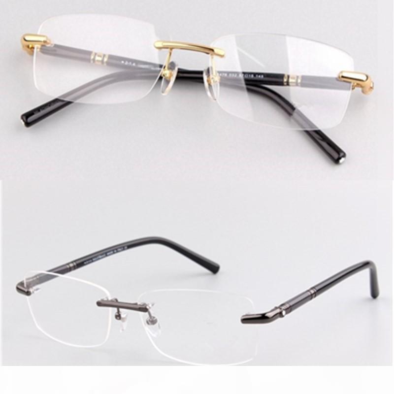 Marco MB Marca Hombres vidrios ópticos sin rebordes marcos de las lentes MB476 Hombres Oro Plata Miopía Eyewear con el caso original