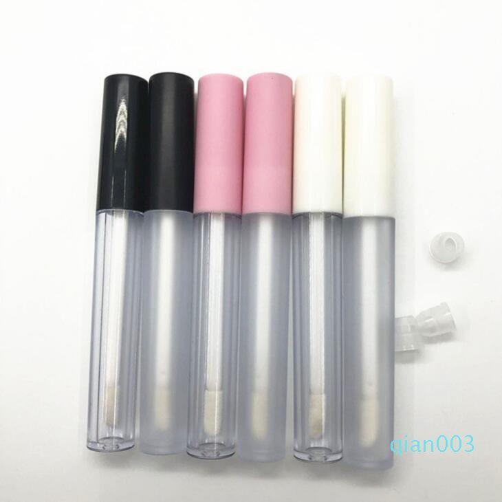 nuova vendita calda 2,5 ml di plastica glassato Lip Gloss tubo vuoto balsamo per labbra Contenitore Con Bianco / rosa Coperchio, Round Lipgloss ricaricabile Bottiglie LX2078