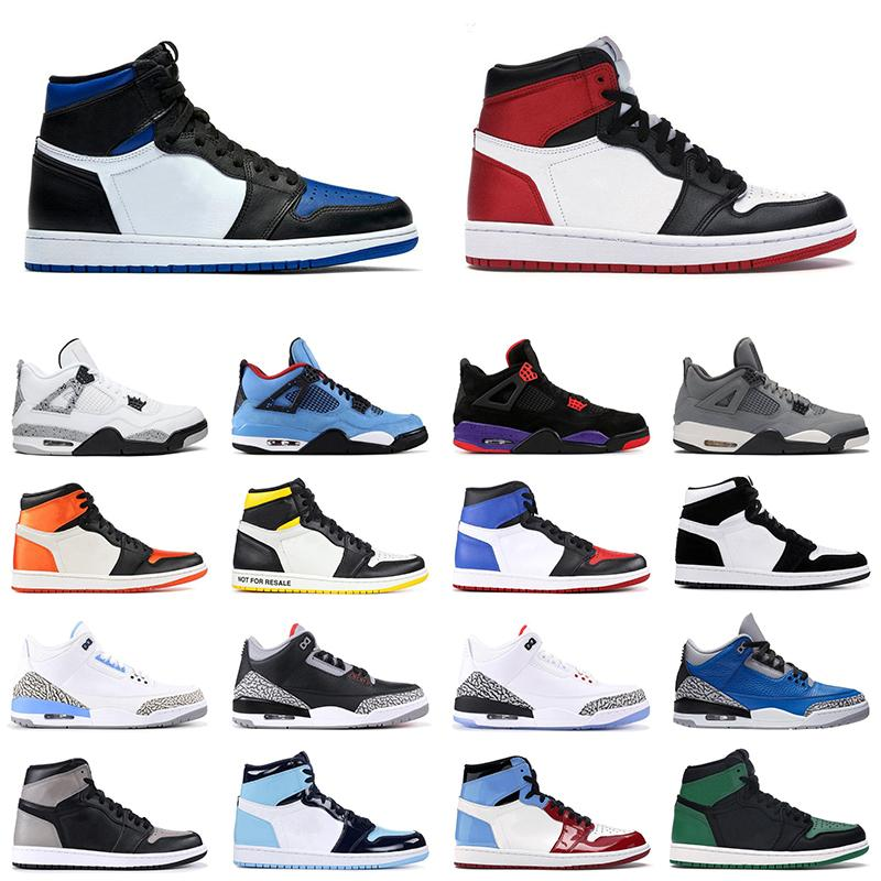 1 basketball shoes men women 1s Obsidian Royal Toe Black Toe UNC 4s White Cement 11s Concord outdoor mens sports sneakers 36-47