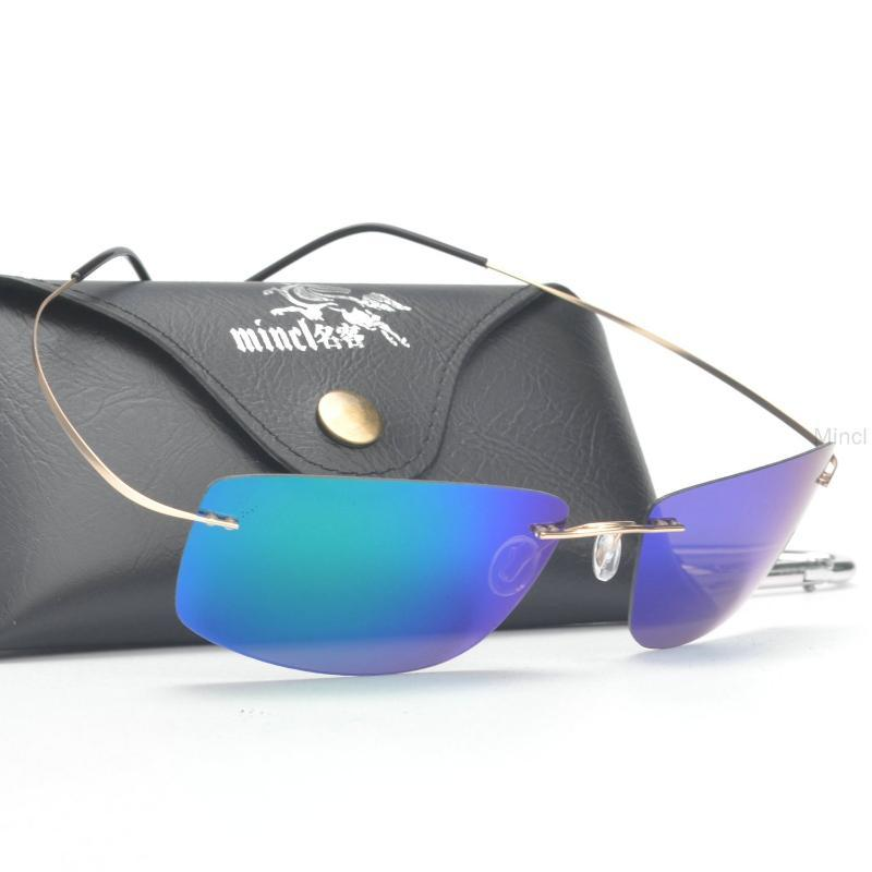 MinCl / Hombres Gafas de sol Marco Sin montar Titanio polarizado con CASE1 CPTSK