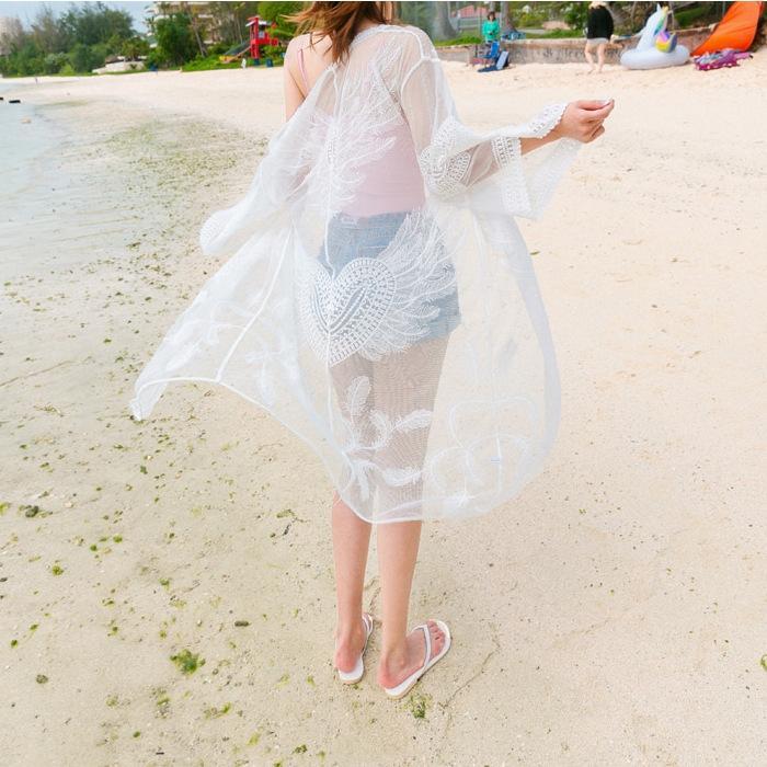 blusa bikini al aire libre a prueba de sol playa vacaciones chaqueta de punto de gran tamaño capa bikini traje vientre suelto que cubre la capa Beach