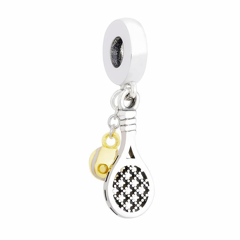 Novas autêntica 925 Encantos Sterling Silver Beads Raquete Dangle Pendant Fit Original Mulheres Bangle Pulseiras Jóias DIY